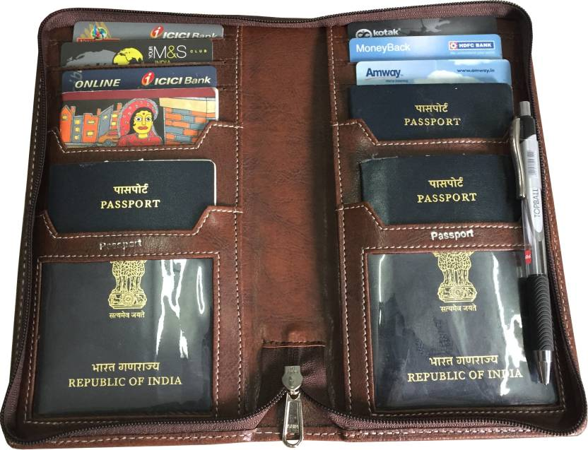 dcdb6c24ba7 SAW LEATHER GOODS Passport Holder Travel Wallet Brown - Price in ...