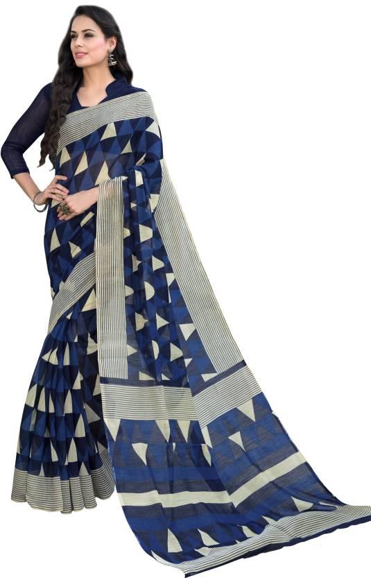 536c5ed05c Buy Taanshi Digital Prints Fashion Silk Linen Blend Blue Sarees ...