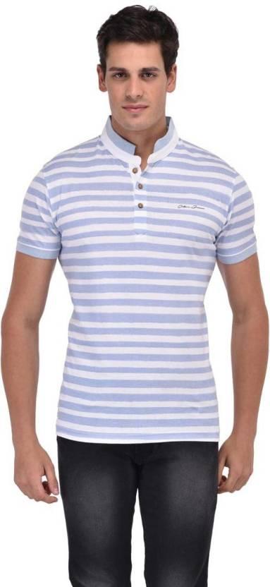580fc64cf Octave Striped Men Mandarin Collar Light Blue T-Shirt - Buy Octave ...