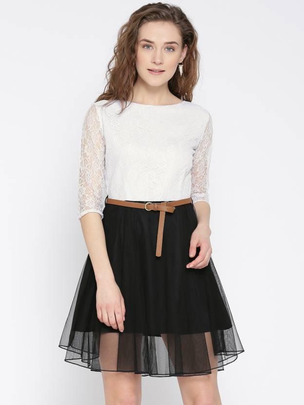 U&F Women Fit and Flare White, Black Dress