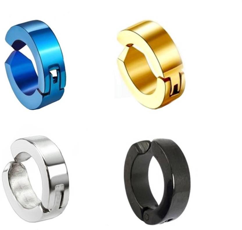 68dde028d Flipkart.com - Buy Men Style Fashion Punk Non-Piercing Ear mens jewelry (4 Single Earring) SEr005042 Stainless Steel Clip-on Earring Online at Best  ...