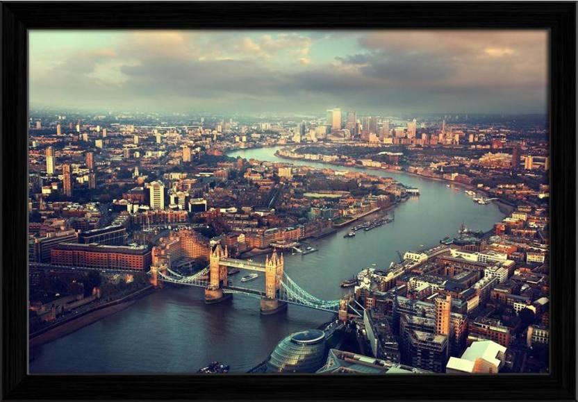 Artzfolio London Aerial View With Tower Bridge Uk Framed