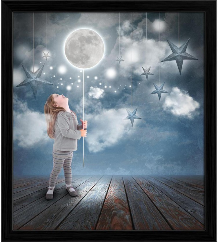 YOUNG BOYS SWIMMING IN MOONLIT SEA PAINTING CHILD CHILDREN KIDS ART CANVAS PRINT