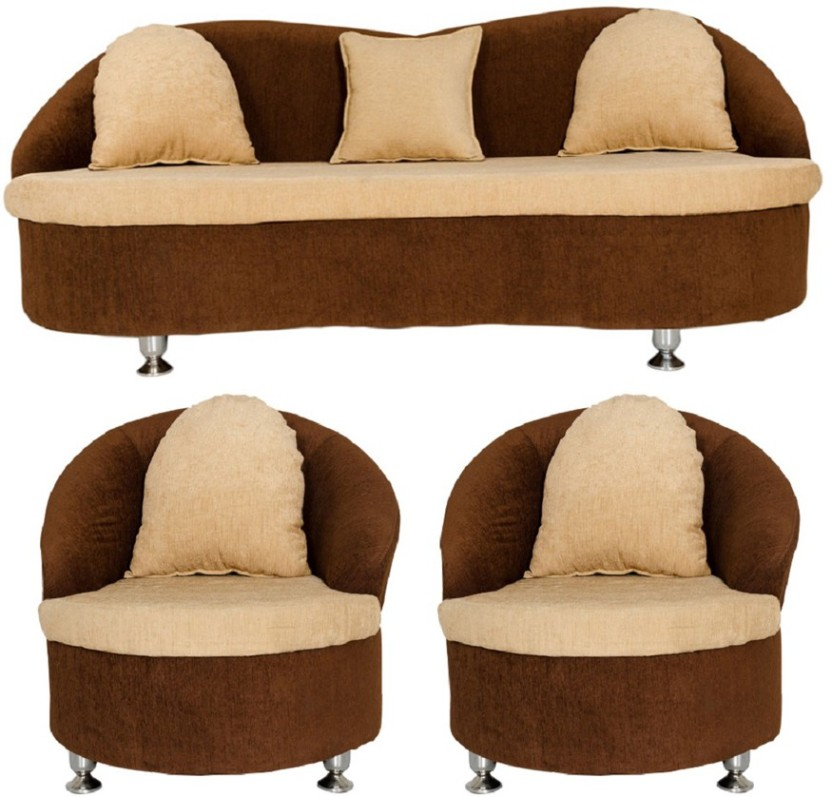 GIOTEAK Fabric 3 + 1 + 1 Cream Sofa Set