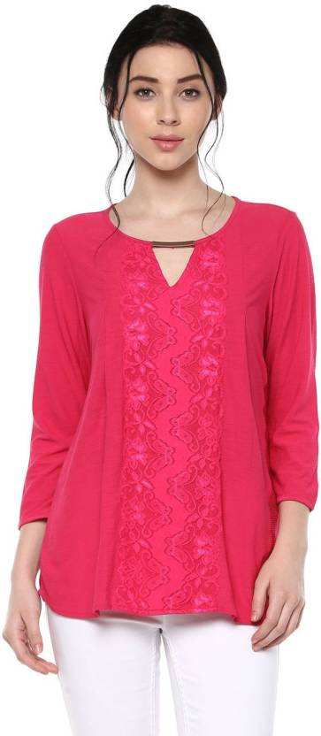 9682608ed5fe Annabelle by Pantaloons Formal 3 4th Sleeve Self Design Women s Pink Top
