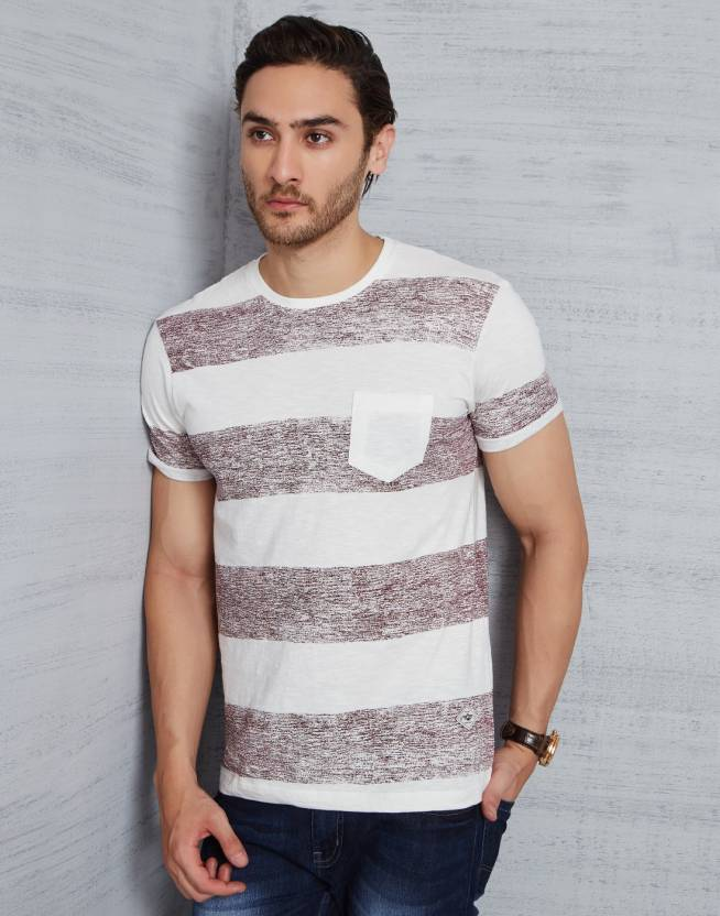Metronaut Striped Men Round Neck Brown T-Shirt