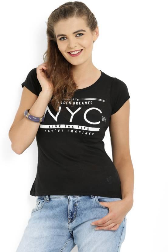 bf05cc2165a080 ALCOTT Solid Women Round Neck Black, White T-Shirt - Buy C101 BLACK ALCOTT Solid  Women Round Neck Black, White T-Shirt Online at Best Prices in India ...