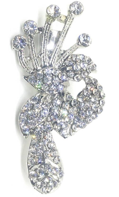 062d8e860 Khubsurat Designer White Stone Stud Saree Pin For Male & Female, Silver  Tone Brooch (Silver)