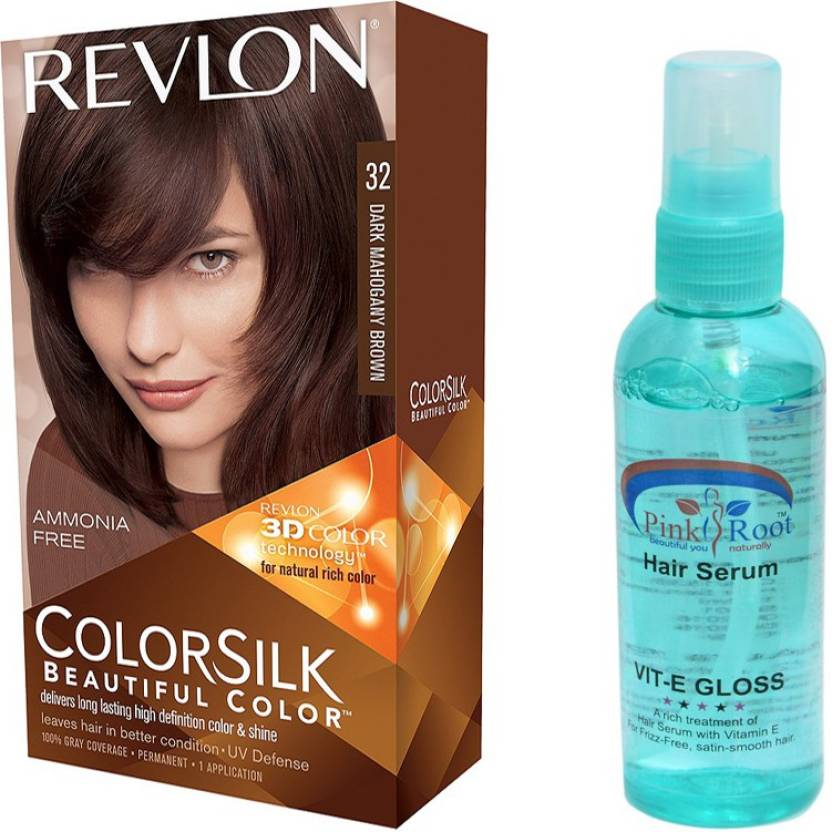 Revlon Dark Mahogany Brown Hair Colour With Pink Root Hair Serum