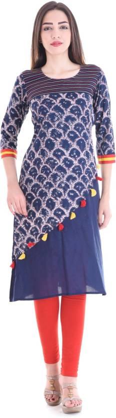 Style N Shades Embellished Women Straight Kurta  (Blue)