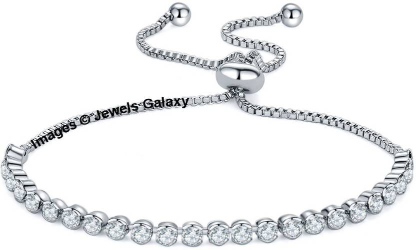 f02372a355535 Jewels Galaxy Copper Swarovski Crystal Rhodium Charm Bracelet