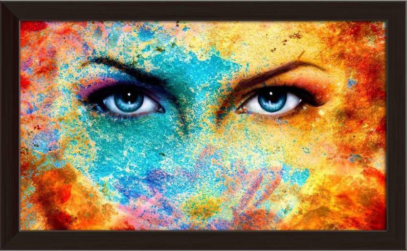 artzfolio blue eyes woman framed wall art painting print canvas 12.0