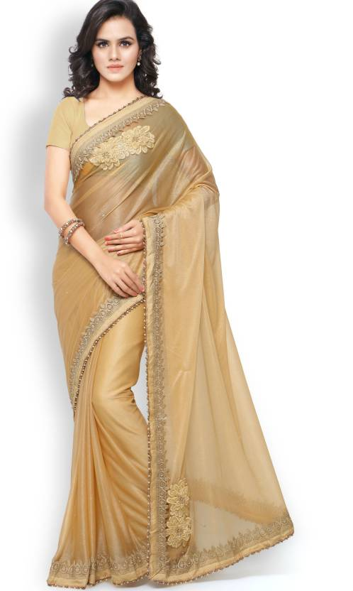 13a933b93fa4a0 Buy Zombom Embroidered Daily Wear Lycra Gold Sarees Online @ Best ...