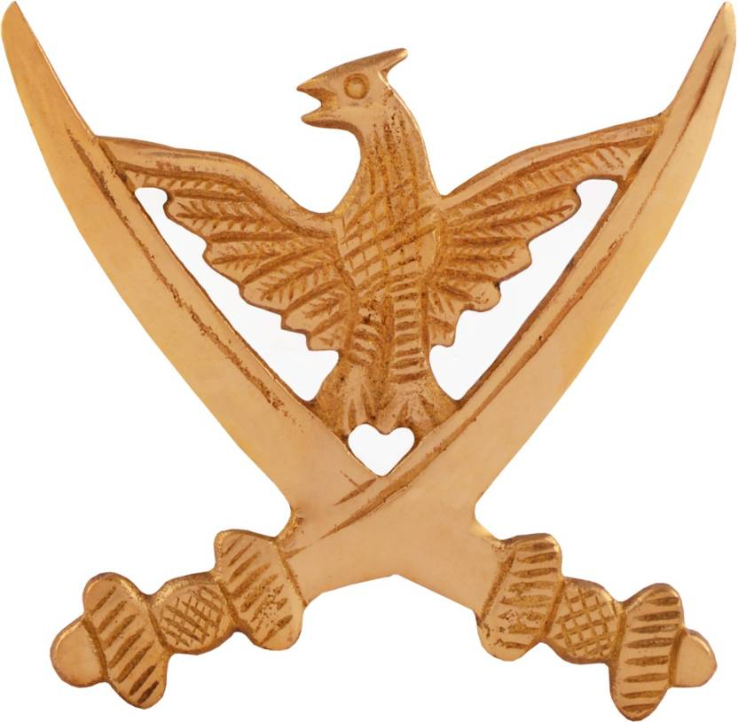 Autofy Brass Cross Sword flying Eagle Decal Badge for All