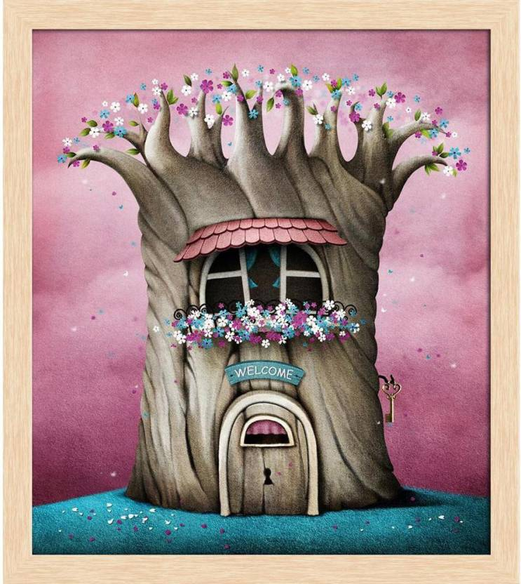 Artzfolio Blooming Tree With Window And Flowers Framed Wall Art