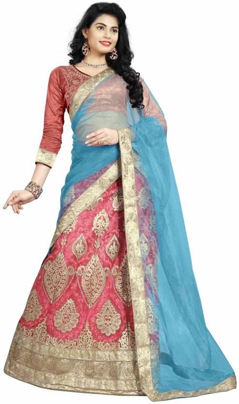 Divastri Net Embroidered Semi-stitched Lehenga Choli Material