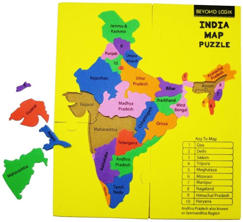 Beyond Logik Multi Coloured Foam Puzzle India Map - Educational Toy ...