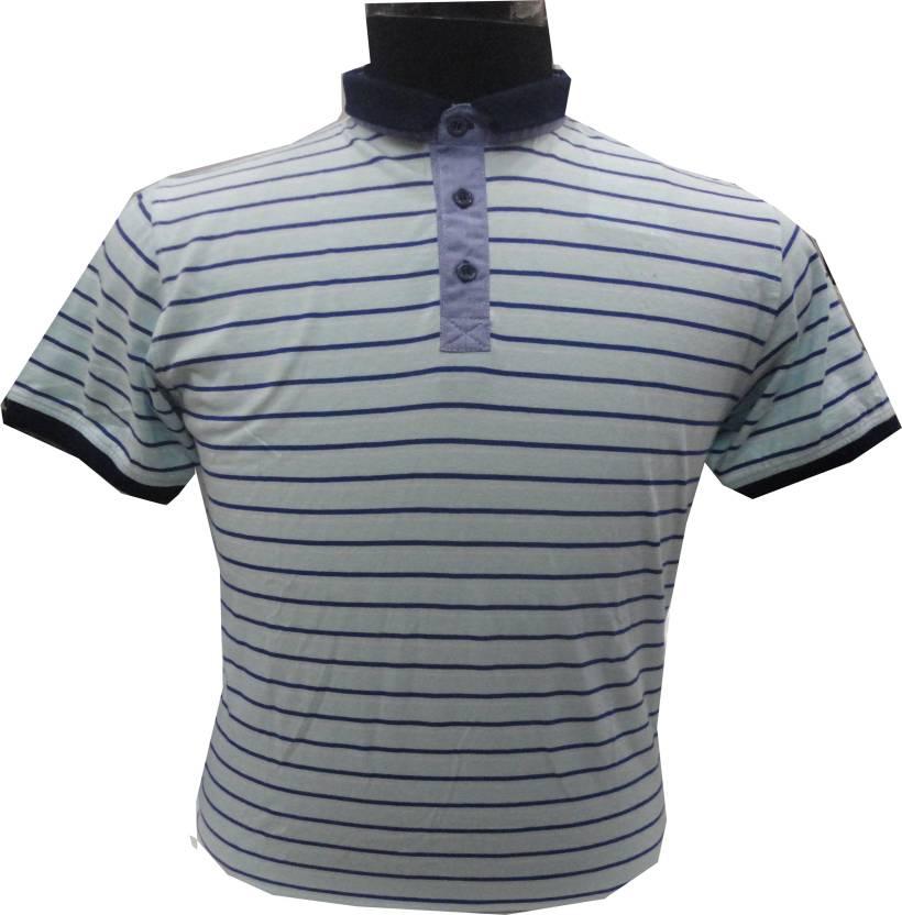 e5d1fd938 BK Black Striped Men Mandarin Collar Light Blue T-Shirt - Buy BK Black Striped  Men Mandarin Collar Light Blue T-Shirt Online at Best Prices in India ...
