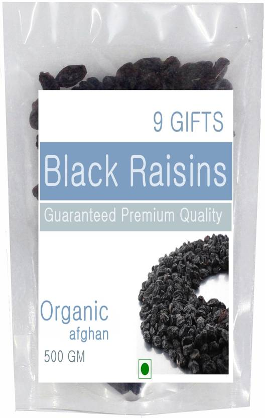 9 GIFTS Afghanistan Black Seedless Raisins (500 g, Pouch)