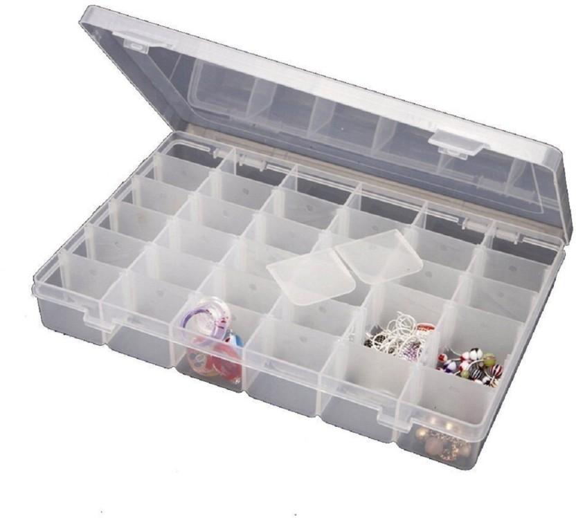 Sukot Adjustable Plastic Jewelry Box Tools Box 24 Case Compartment Storage  Box Storage Vanity Box (Transparent)