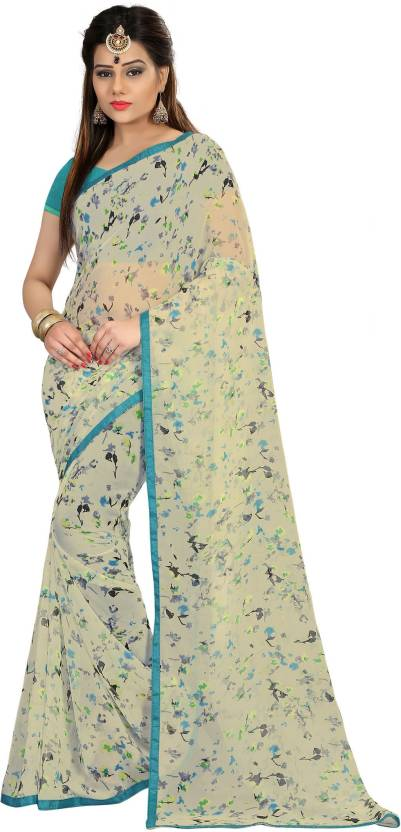 Divastri Self Design Fashion Georgette Saree  (White)#OnlyOnFlipkart