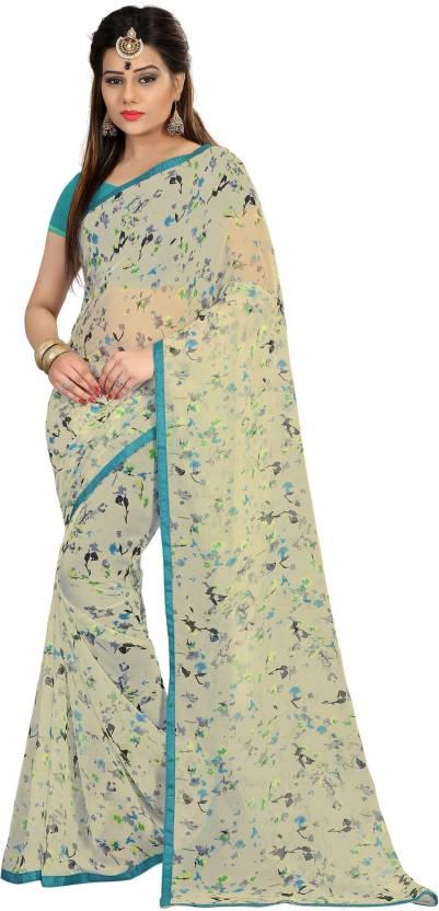 Divastri Self Design Fashion Georgette Saree(White)#OnlyOnFlipkart