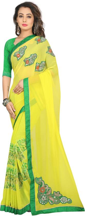 Divastri Embroidered Fashion Georgette Saree  (Green)#OnlyOnFlipkart