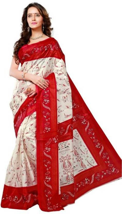 f42702be8f Buy Triveni Printed Fashion Art Silk White, Red Sarees Online @ Best ...