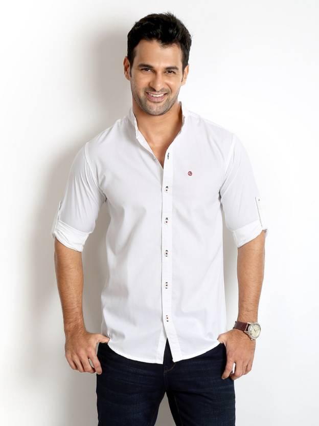 Rodid Mens Solid Casual White Shirt