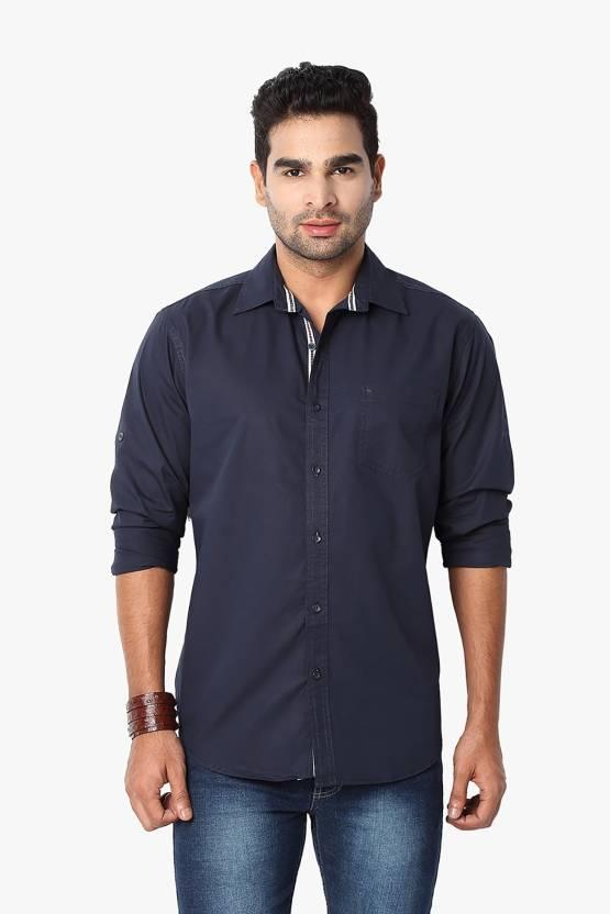 Suspense Men Solid Casual Dark Blue Shirt