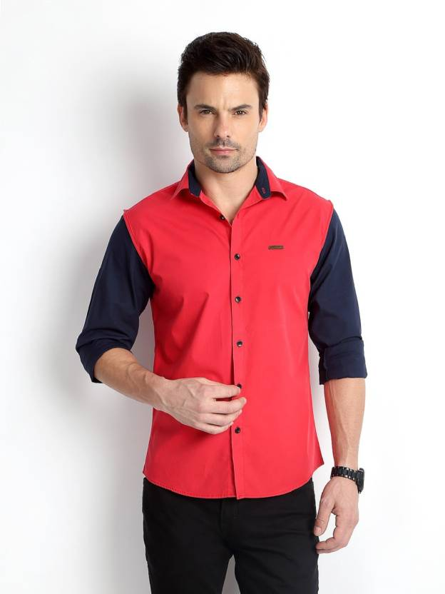Rodid Mens Solid Casual Red Shirt