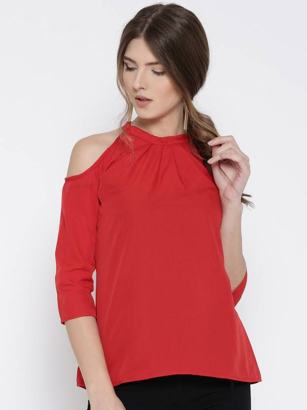 U&F Casual 3/4th Sleeve Solid Women Red Top