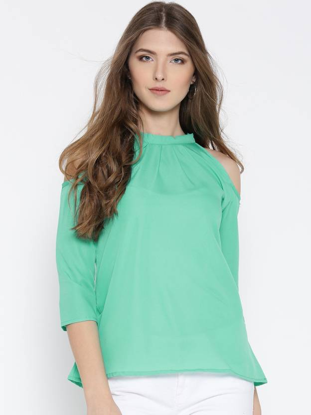 a853aeb997fd86 U&F Casual Cold Shoulder Solid Women's Light Green Top - Buy Sea Green U&F  Casual Cold Shoulder Solid Women's Light Green Top Online at Best Prices in  India ...