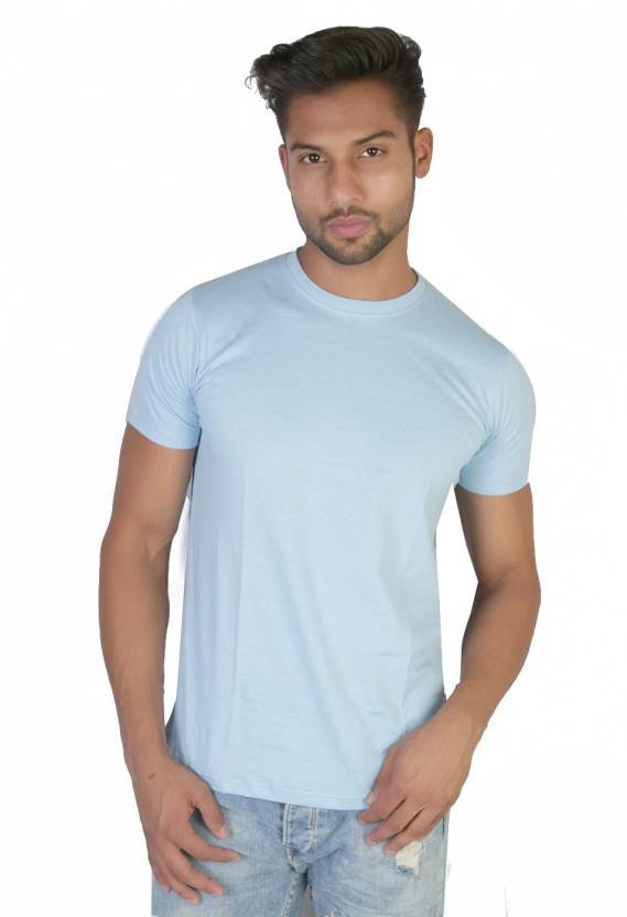 Vimanika Solid Men's Round Neck Light Blue T-Shirt