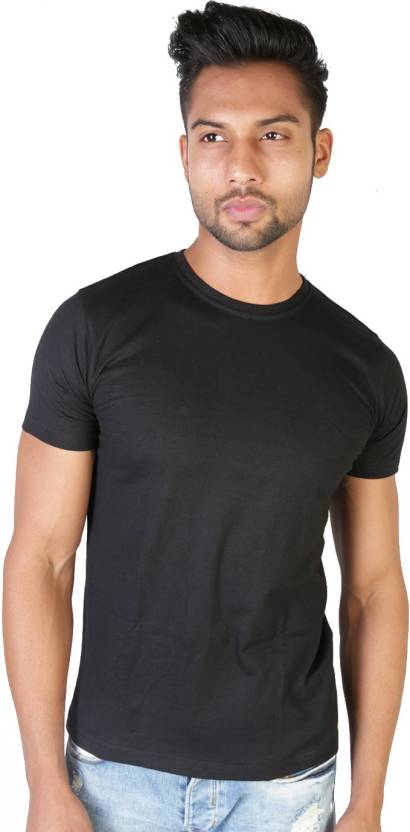 Vimanika Solid Men's Round Neck Black T-Shirt