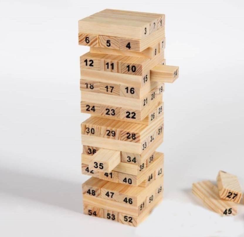 Montez Jenga Wood Blocks Family Pack Fun Game Brown Adorable Games With Wooden Blocks