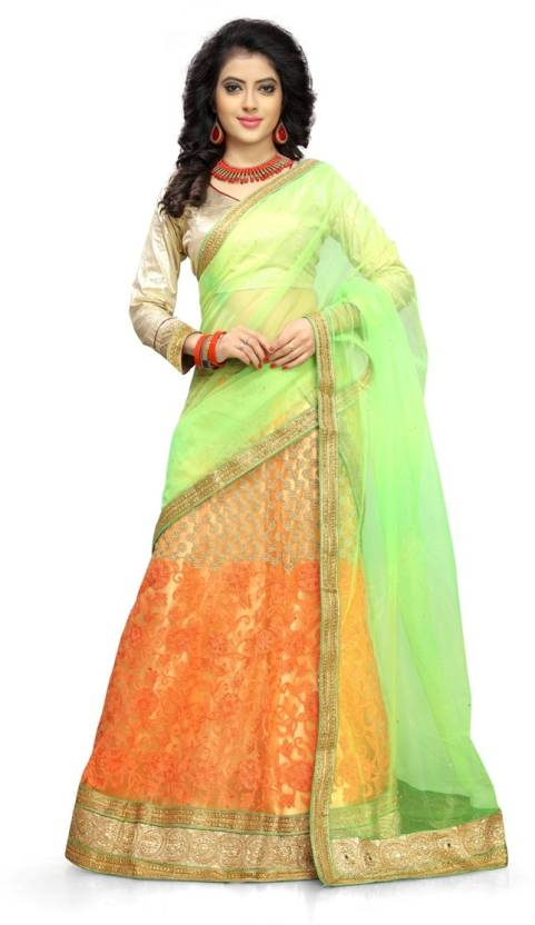 Divastri Net Embroidered Semi-stitched Lehenga Choli Material