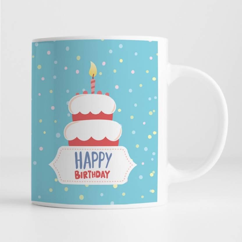 100yellow Gift For Uncle Aunty Happy Birthday Printed Glossy Finish Ceramic Coffee Mug 350 Ml