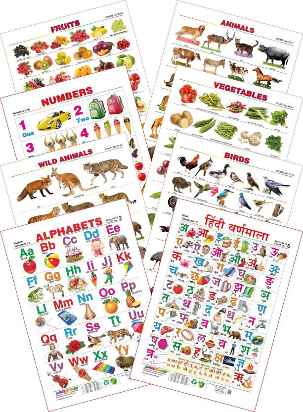 Spectrum Kid S 1st Learning Charts Set 17 English Alphabets Hindi
