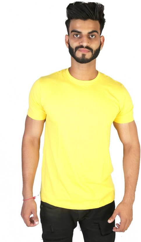 Vimanika Solid Men's Round Neck Yellow T-Shirt