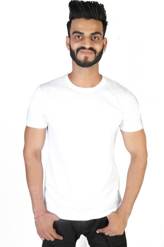 Vimanika Solid Men's Round Neck White T-Shirt