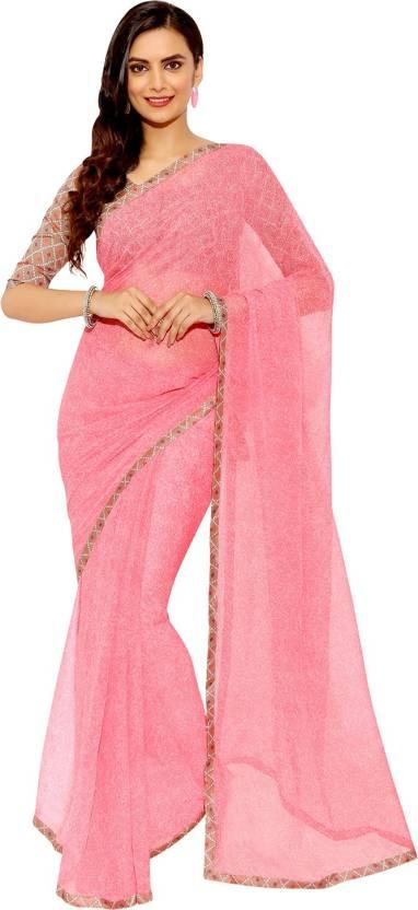 Buy Craftsvilla Self Design Daily Wear Georgette Pink Sarees Online