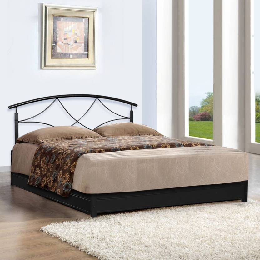 FurnitureKraft Granada Metal Queen Bed With Storage