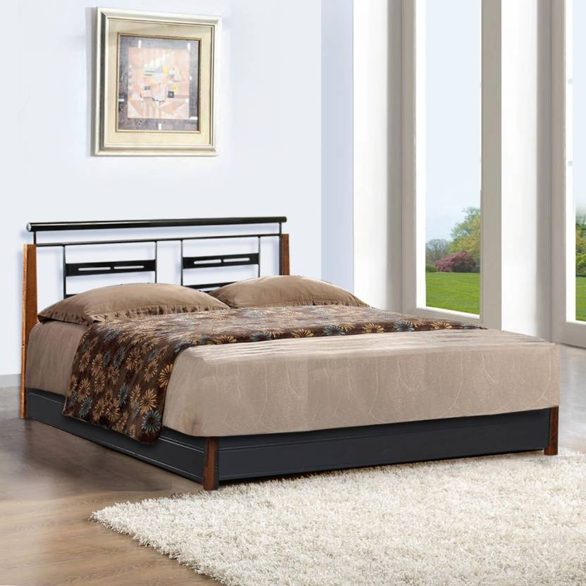 FurnitureKraft Oman Metal Queen Bed With Storage