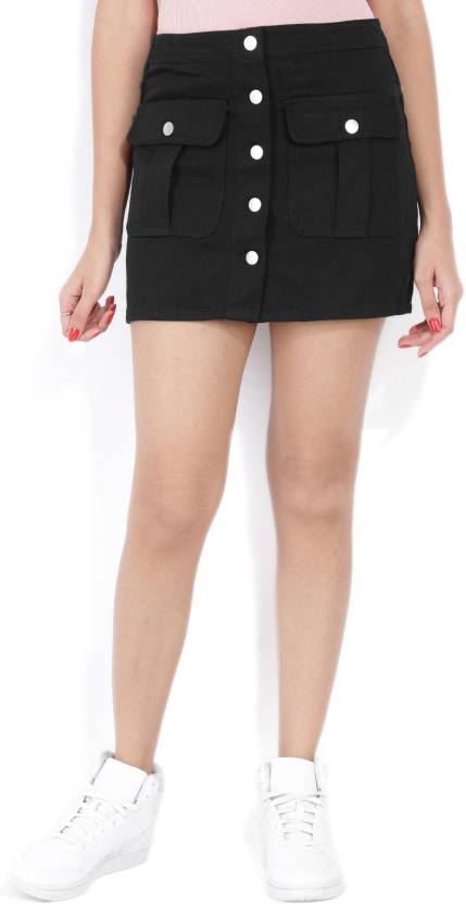 fc08ae483be1 Forever 21 Solid Women A-line Black Skirt - Buy BLACK Forever 21 Solid  Women A-line Black Skirt Online at Best Prices in India | Flipkart.com