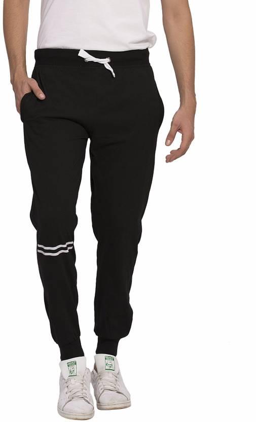Alan Jones Solid Mens Black Track Pants