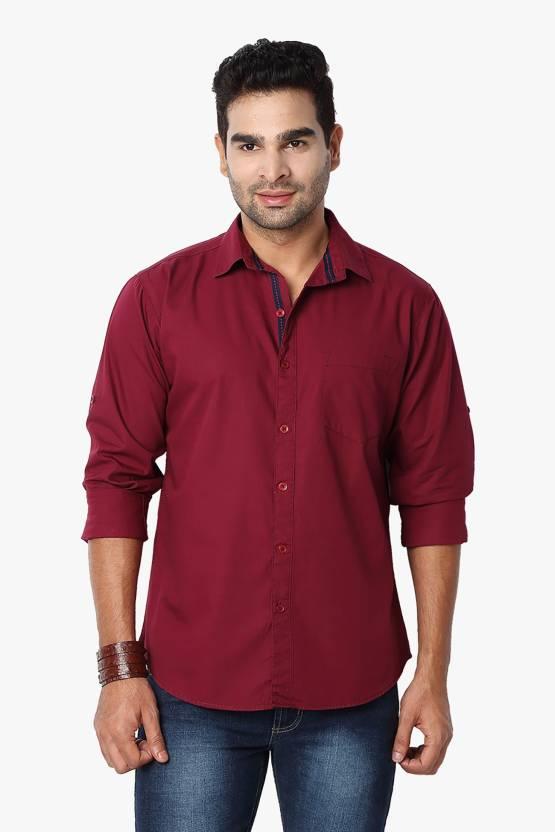 Suspense Men Solid Casual Maroon Shirt