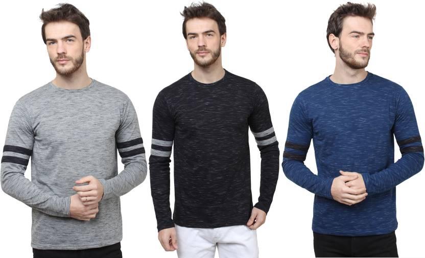 SayItLoud Solid Men Round Neck Grey, Black, Blue T-Shirt(Pack of 3)