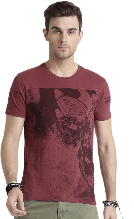 133ec6c28f9493 Roadster Printed Men Round Neck Maroon T-Shirt - Buy Roadster ...