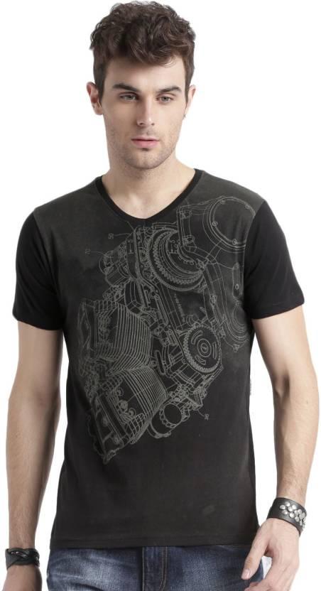 Roadster Printed Men V-neck Black T-Shirt